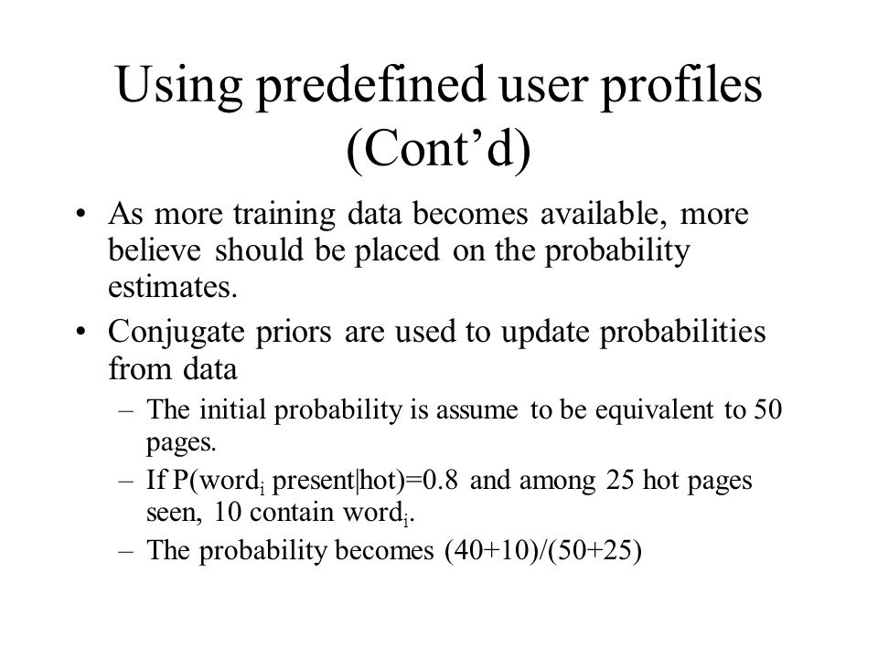 Using predefined user profiles (Cont'd)