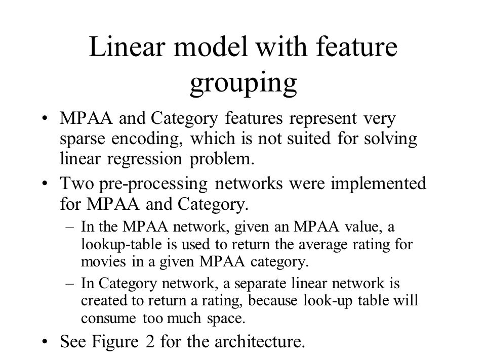 Linear model with feature grouping
