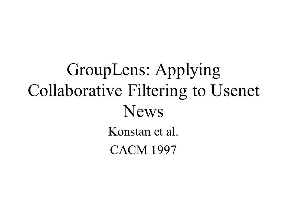 GroupLens: Applying Collaborative Filtering to Usenet News