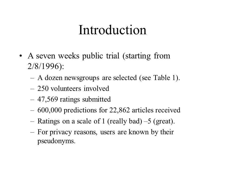 Introduction A seven weeks public trial (starting from 2/8/1996):