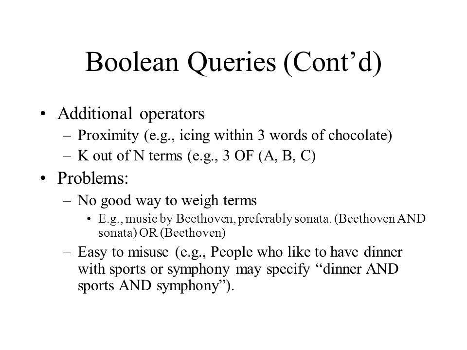 Boolean Queries (Cont'd)