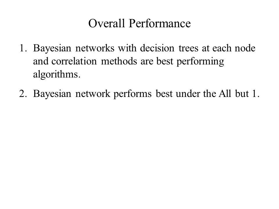 Overall Performance Bayesian networks with decision trees at each node and correlation methods are best performing algorithms.