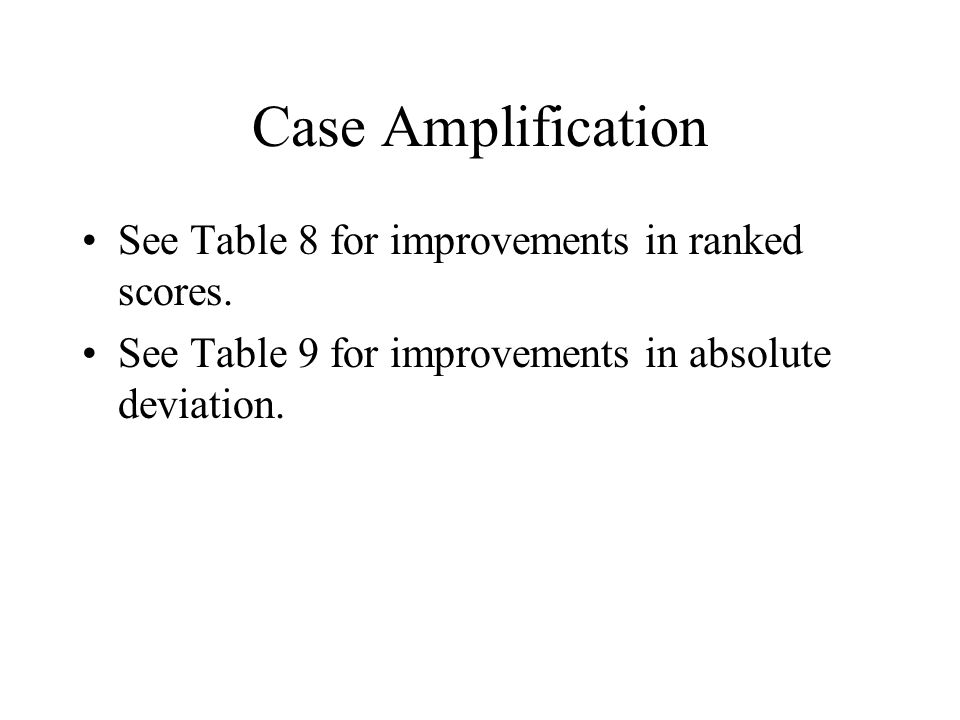 Case Amplification See Table 8 for improvements in ranked scores.