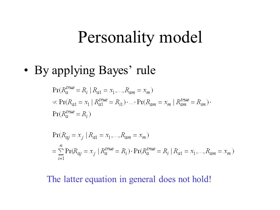 Personality model By applying Bayes' rule