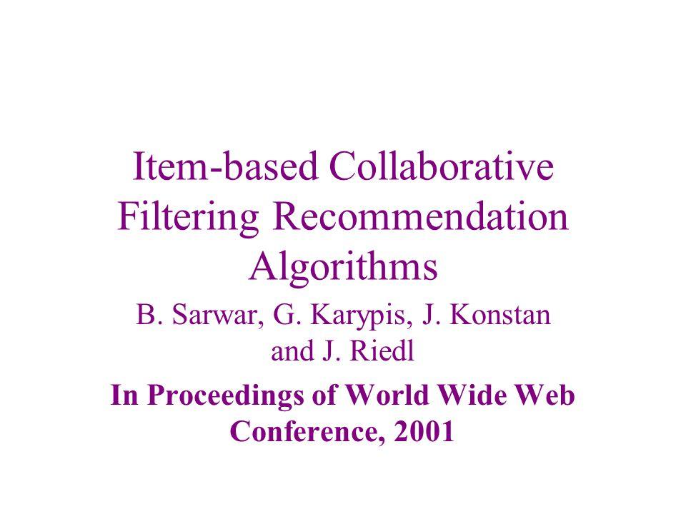Item-based Collaborative Filtering Recommendation Algorithms