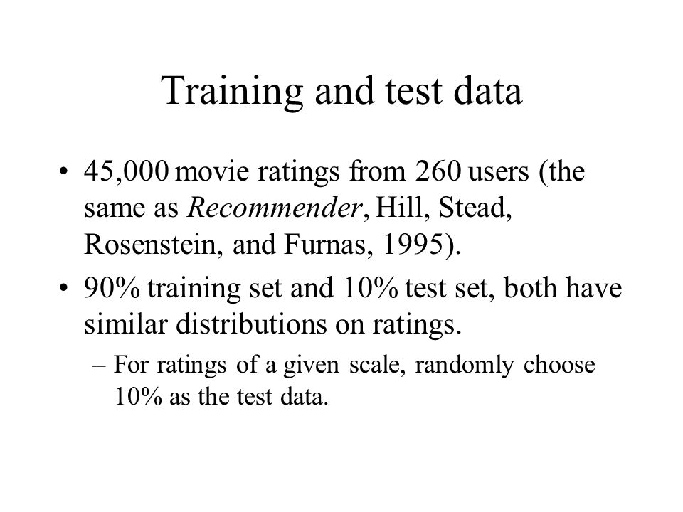 Training and test data 45,000 movie ratings from 260 users (the same as Recommender, Hill, Stead, Rosenstein, and Furnas, 1995).