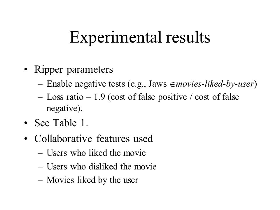 Experimental results Ripper parameters See Table 1.