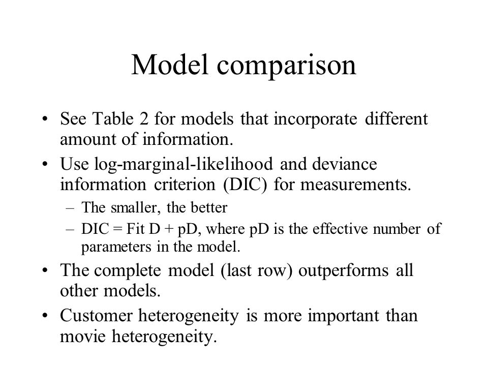 Model comparison See Table 2 for models that incorporate different amount of information.