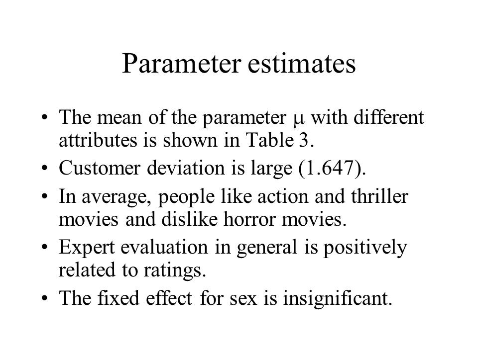 Parameter estimates The mean of the parameter  with different attributes is shown in Table 3. Customer deviation is large (1.647).
