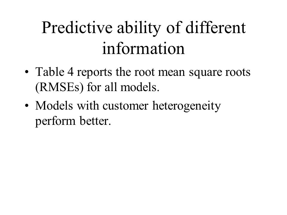 Predictive ability of different information