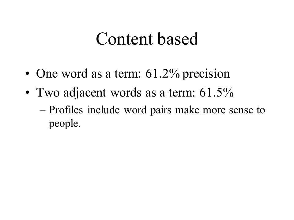 Content based One word as a term: 61.2% precision