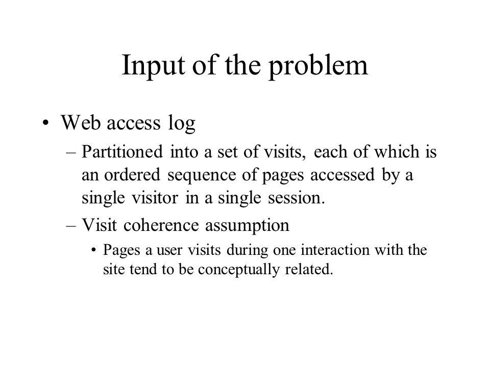 Input of the problem Web access log
