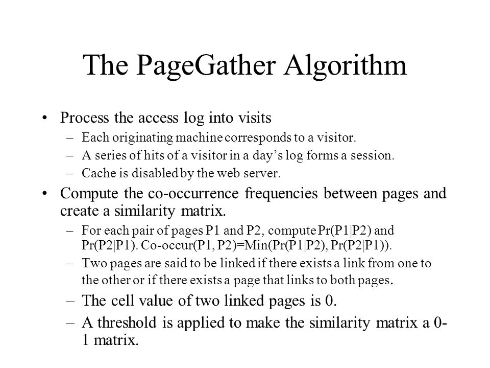 The PageGather Algorithm