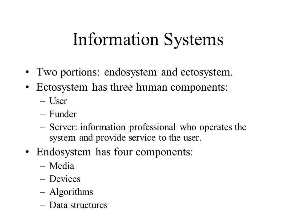 Information Systems Two portions: endosystem and ectosystem.