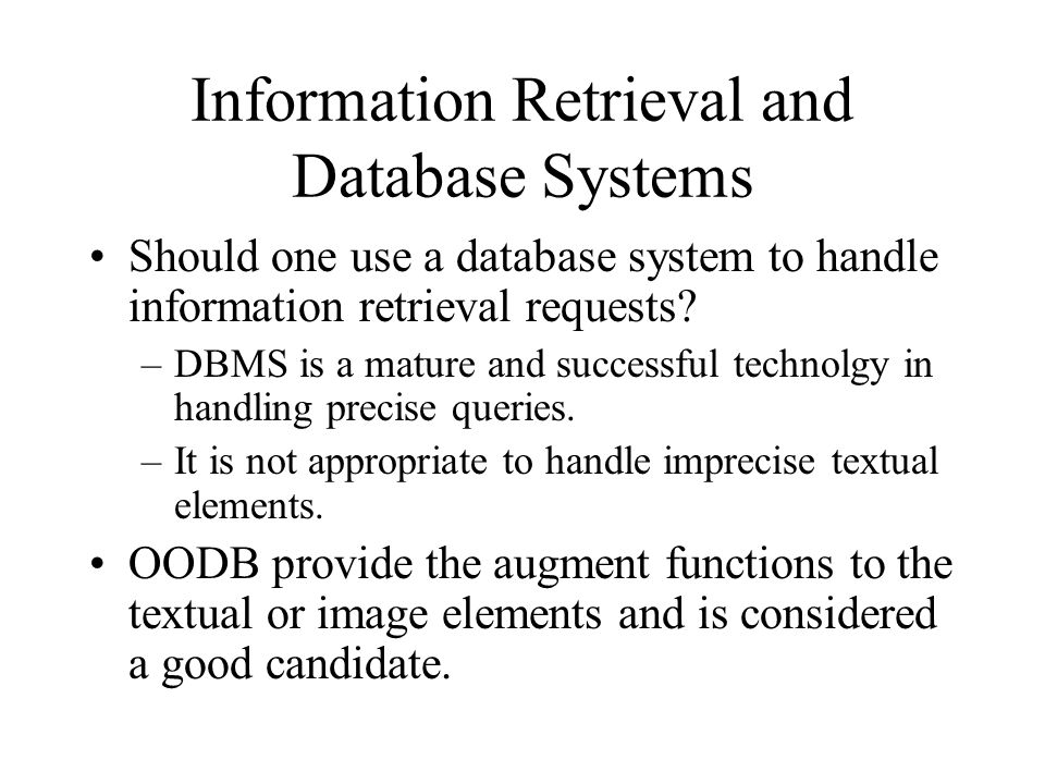 Information Retrieval and Database Systems