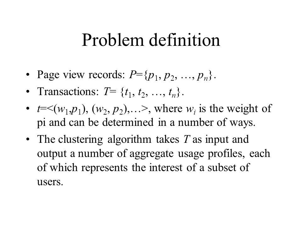 Problem definition Page view records: P={p1, p2, …, pn}.