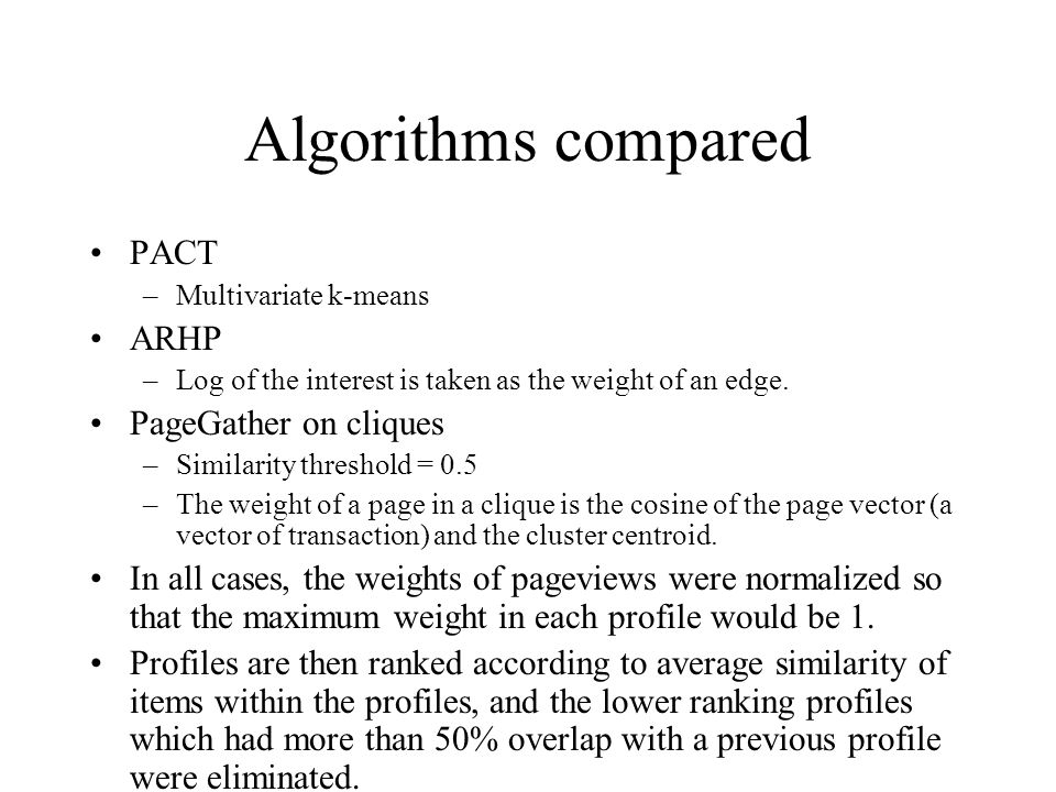 Algorithms compared PACT ARHP PageGather on cliques
