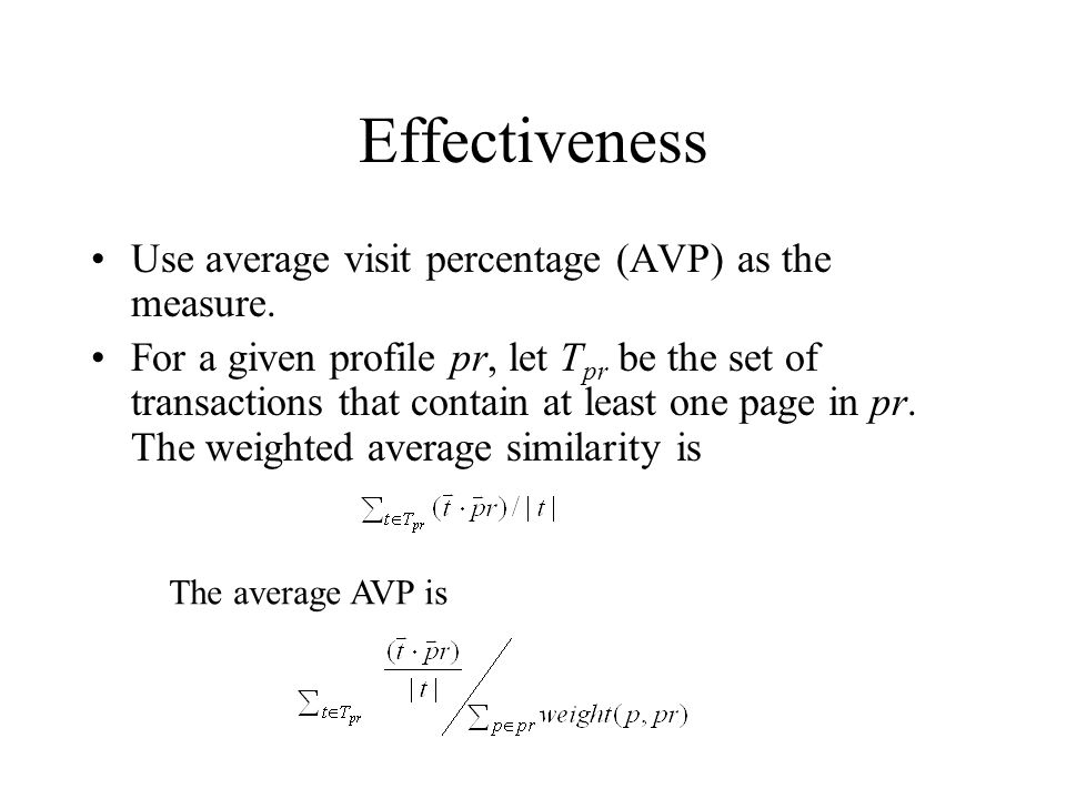 Effectiveness Use average visit percentage (AVP) as the measure.