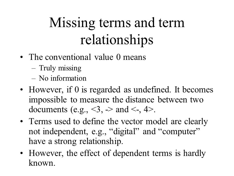 Missing terms and term relationships