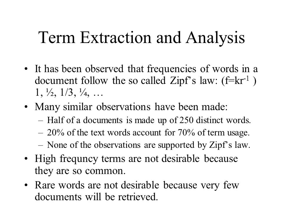 Term Extraction and Analysis