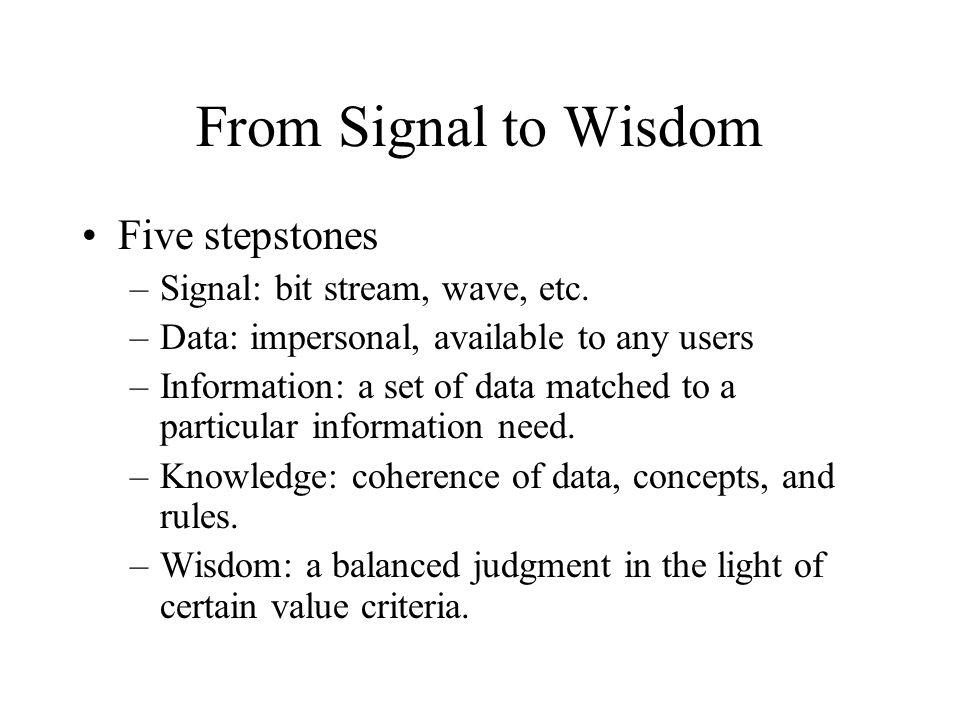 From Signal to Wisdom Five stepstones Signal: bit stream, wave, etc.
