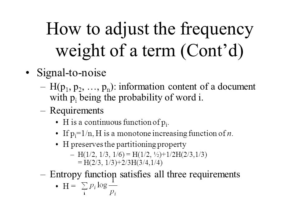 How to adjust the frequency weight of a term (Cont'd)