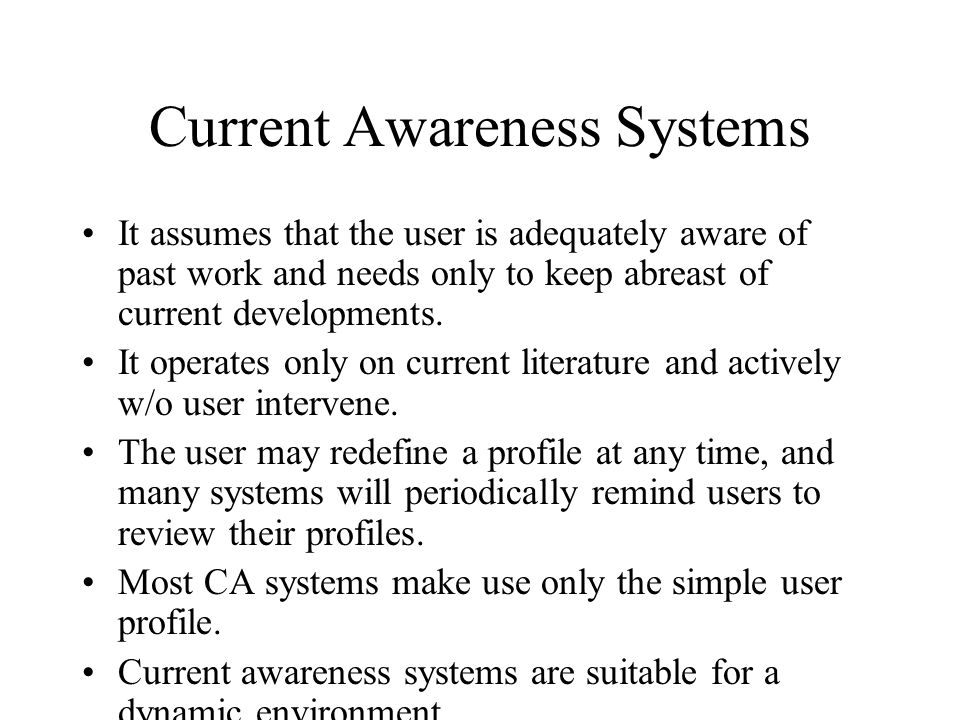 Current Awareness Systems