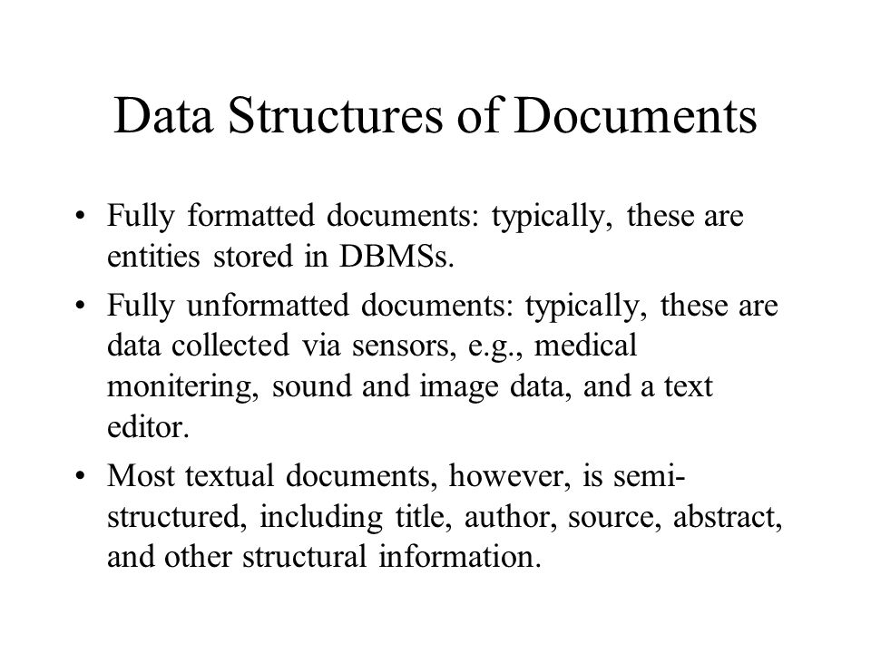 Data Structures of Documents