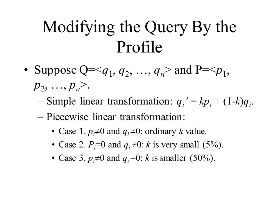Modifying the Query By the Profile