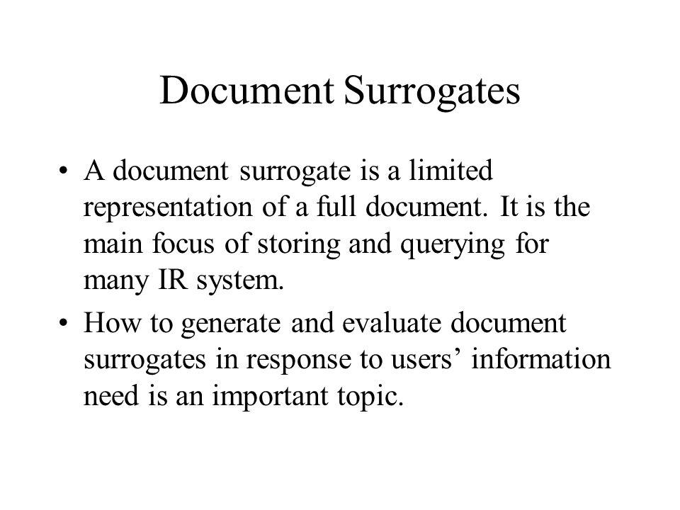 Document Surrogates