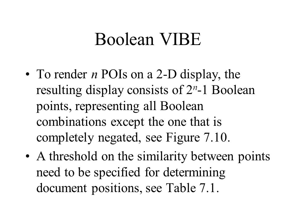 Boolean VIBE