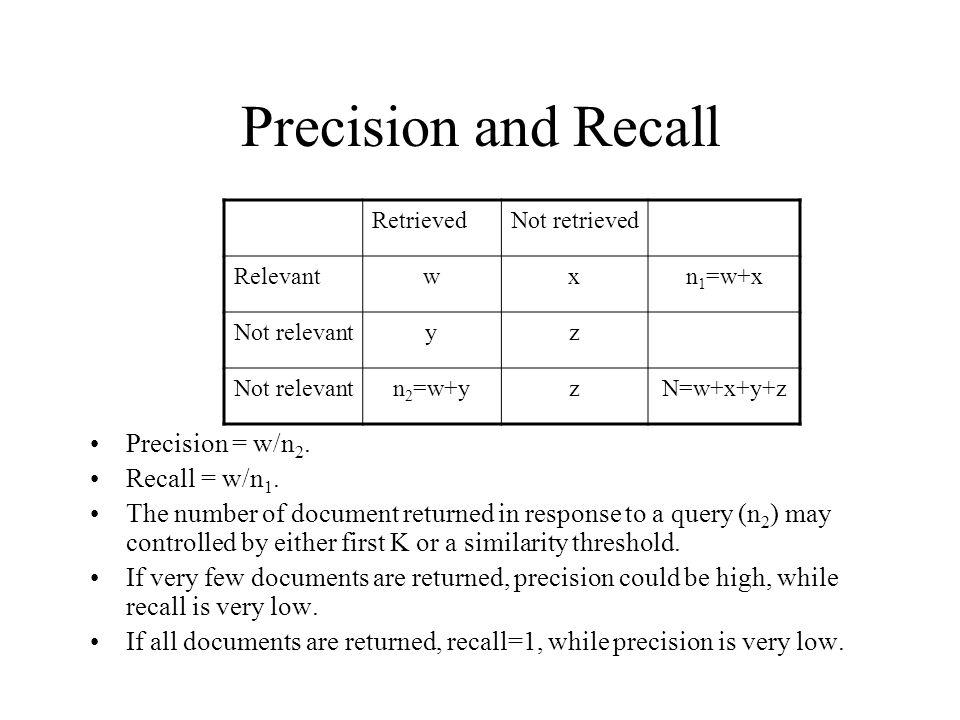 Precision and Recall Precision = w/n2. Recall = w/n1.