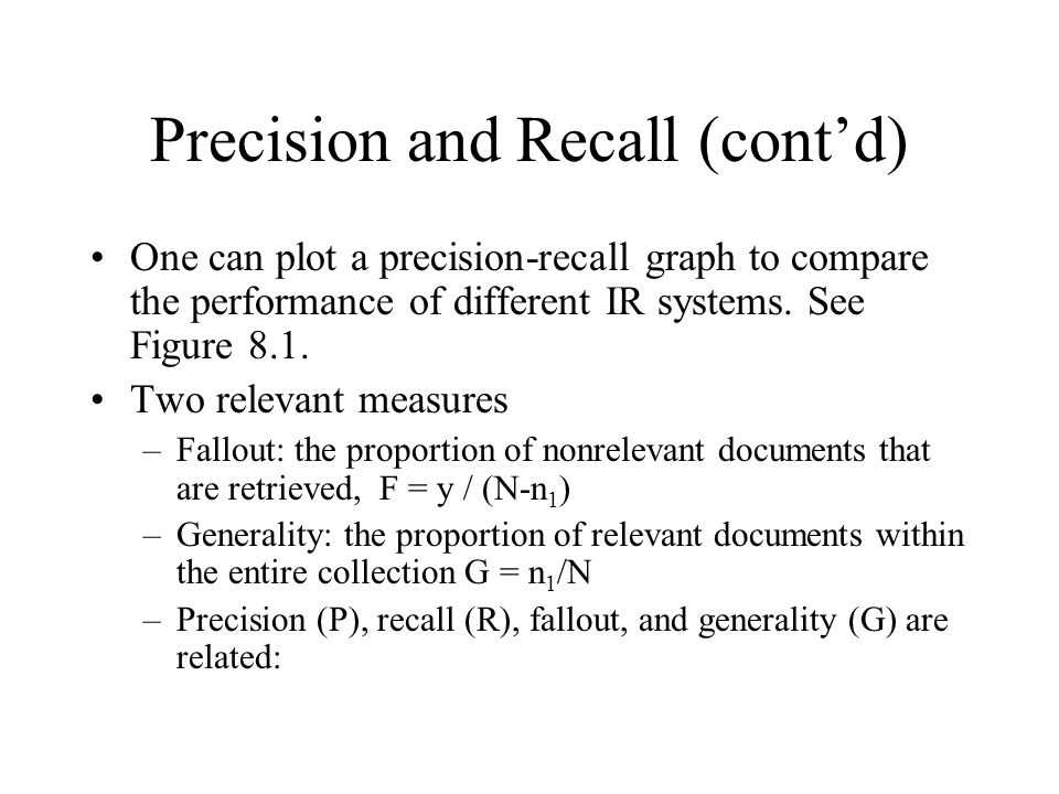Precision and Recall (cont'd)