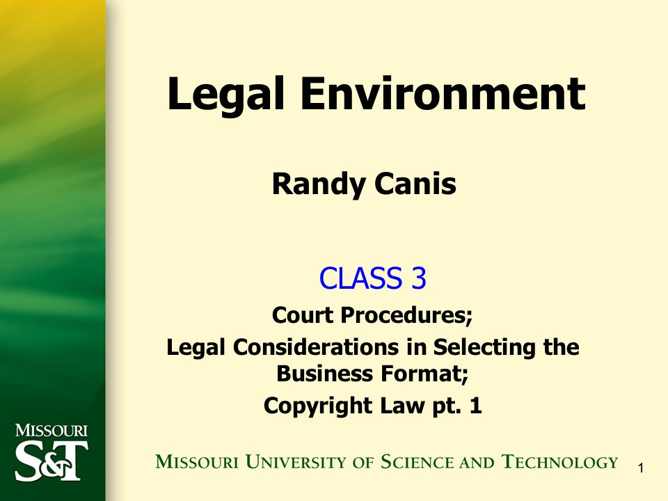 Legal Considerations in Selecting the Business Format;