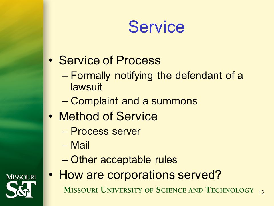 Service Service of Process Method of Service