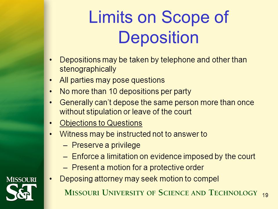 Limits on Scope of Deposition
