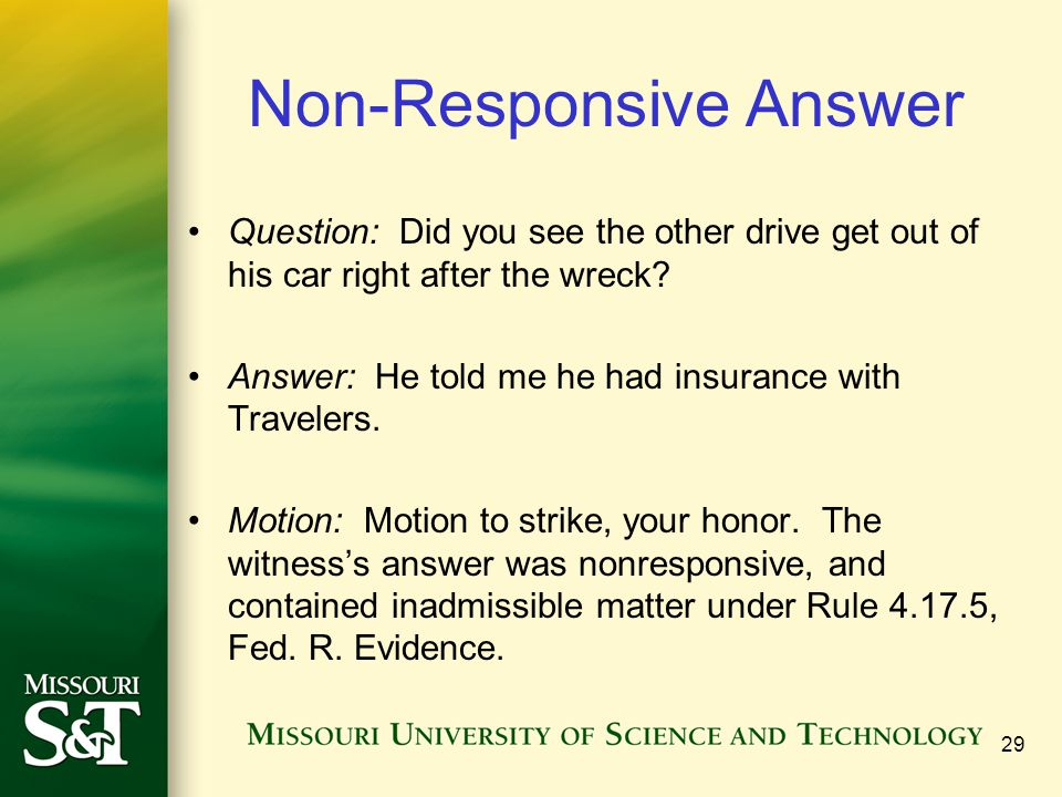 Non-Responsive Answer
