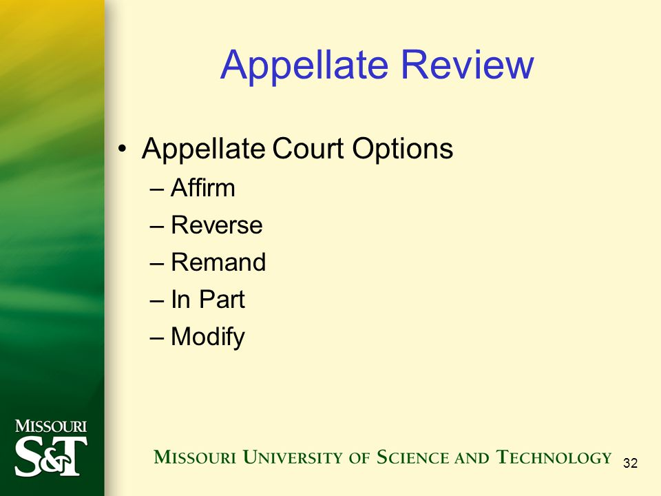 Appellate Review Appellate Court Options Affirm Reverse Remand In Part