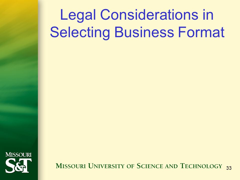 Legal Considerations in Selecting Business Format