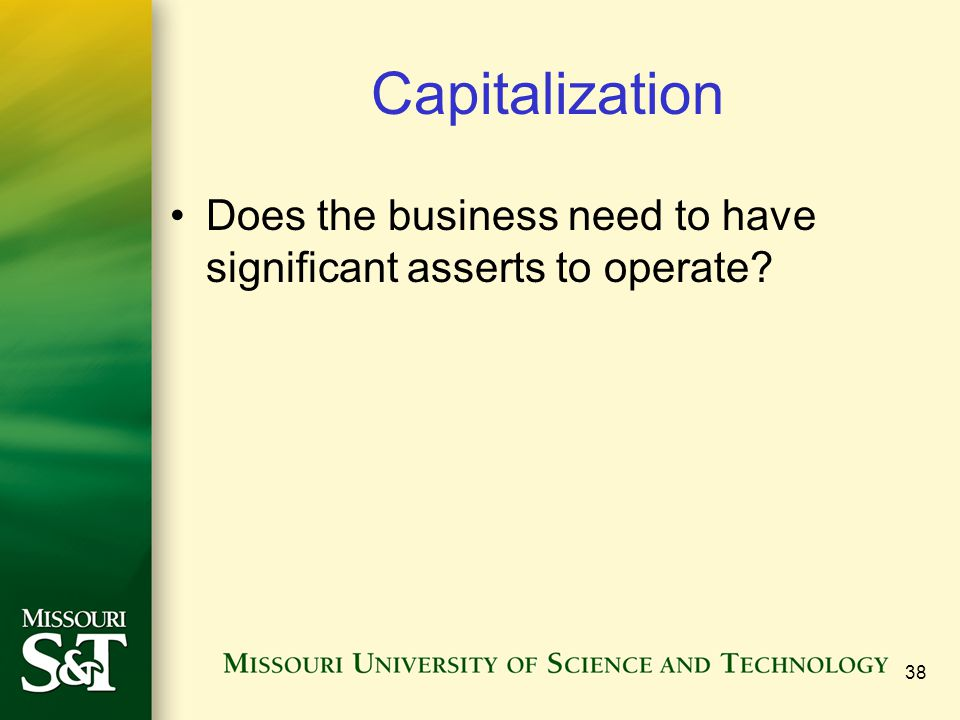 Capitalization Does the business need to have significant asserts to operate