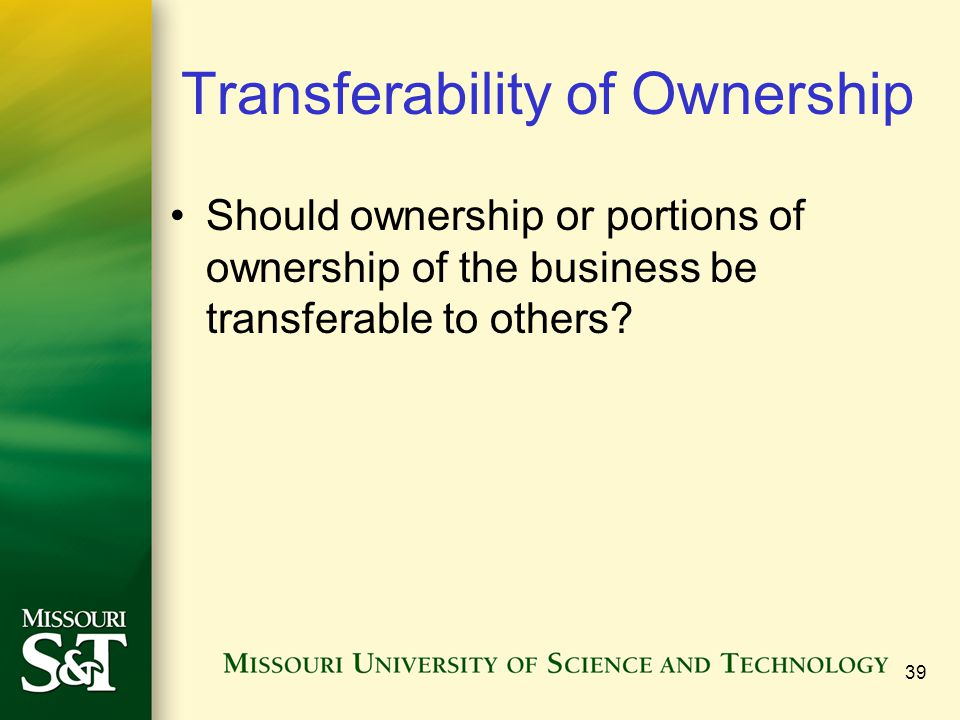 Transferability of Ownership