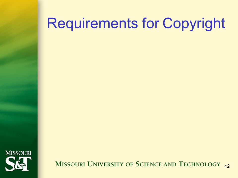 Requirements for Copyright