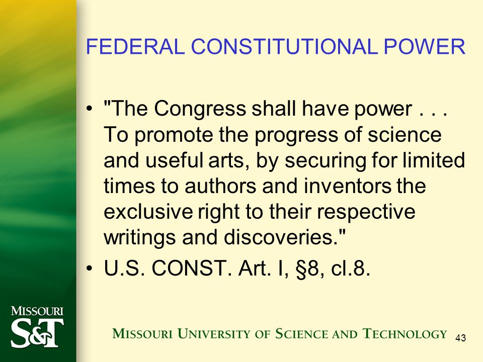 FEDERAL CONSTITUTIONAL POWER