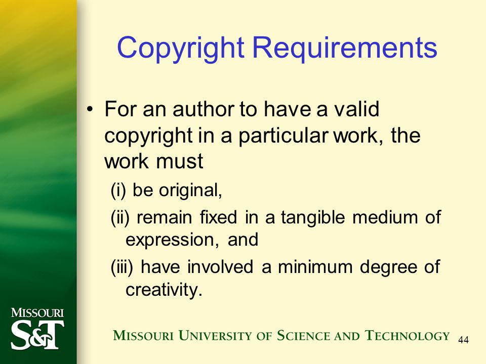 Copyright Requirements