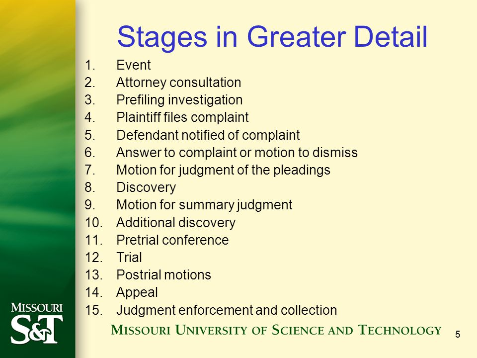 Stages in Greater Detail