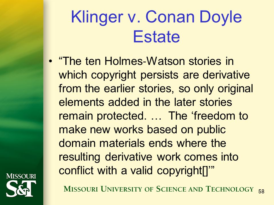 Klinger v. Conan Doyle Estate