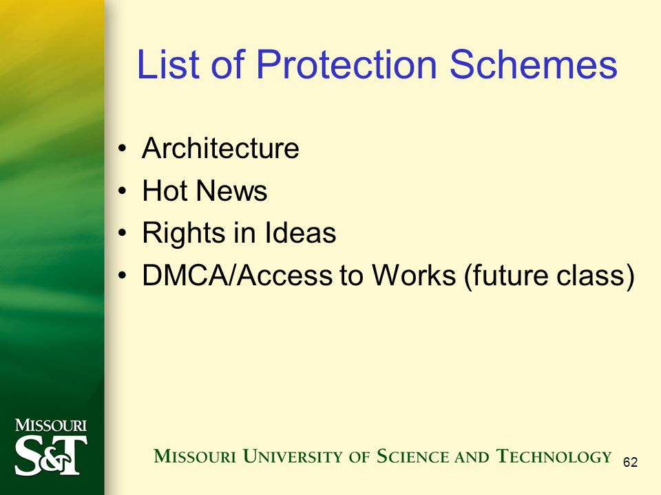 List of Protection Schemes
