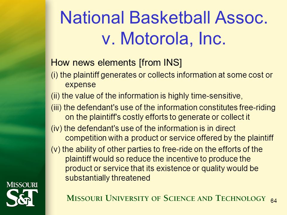 National Basketball Assoc. v. Motorola, Inc.
