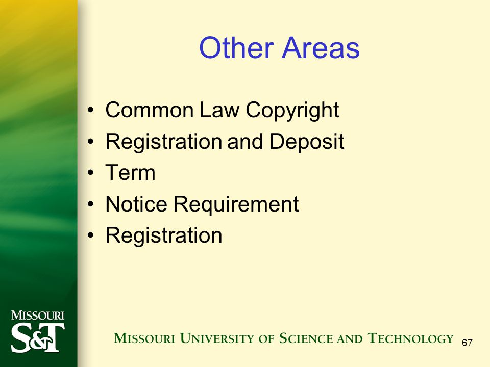 Other Areas Common Law Copyright Registration and Deposit Term
