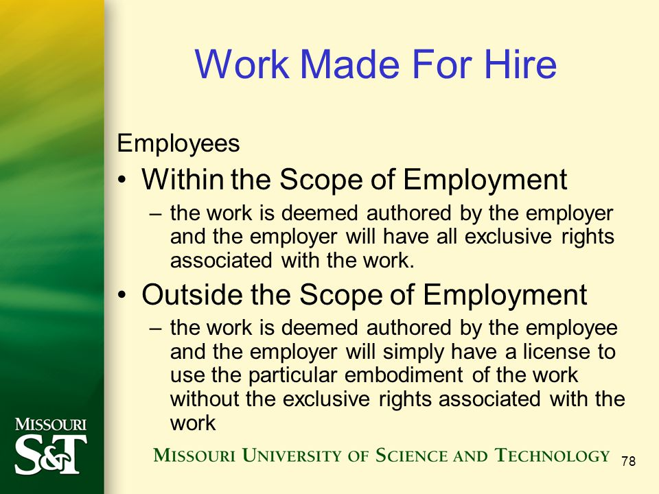 Work Made For Hire Within the Scope of Employment